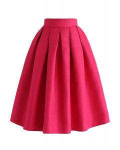 ジャカードプリーツAラインスカート ピンク