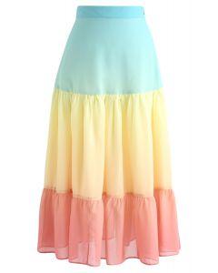 カラーブロックシフォンスカート