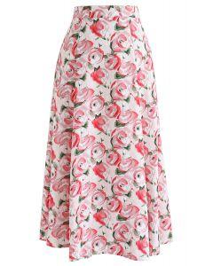 レッドローズ柄Aラインスカート
