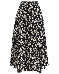 デイジープリントAラインスカート ブラック