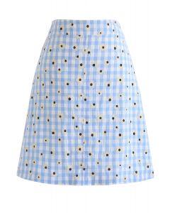 デイジープリントギンガムスカート ブルー