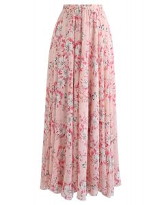 バタフライ&フローラルプリントシフォンマキシスカート ピンク