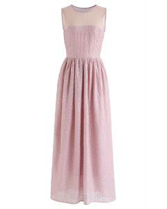 刺繍マキシワンピース ピンク