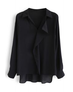 Vネックシャツ ブラック