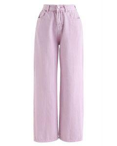 ワイドレッグクロップドジーンズ ピンク