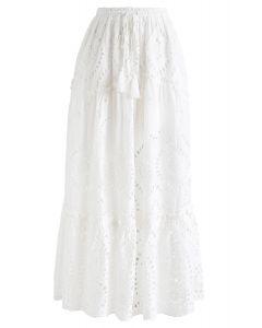 刺繍タッセルスカート ホワイト