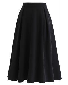 プリーツAラインスカート ブラック