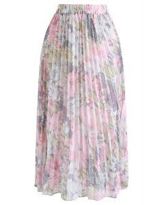 花柄プリーツシフォンスカート ピンク