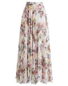 花柄マキシスカート アイボリー
