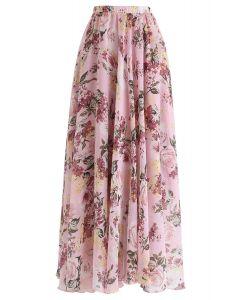 花柄マキシスカート ピンク