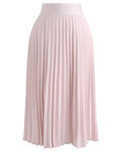 サテンプリーツスカート ピンク