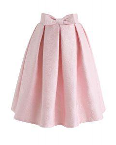 ボウノットプリーツジャカードスカート ピンク