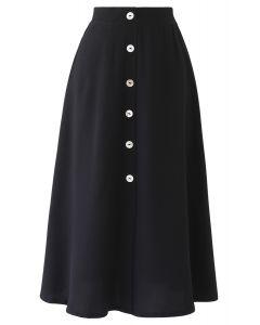 スプリットボタントリムスカート ブラック