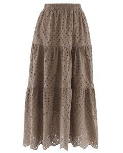 フリル裾コットンスカート ブラウン