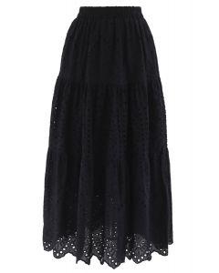 フリル裾コットンスカート ブラック