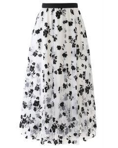 3Dダブルレイヤードメッシュスカート ホワイト