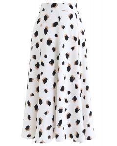 スポット柄スカート ホワイト