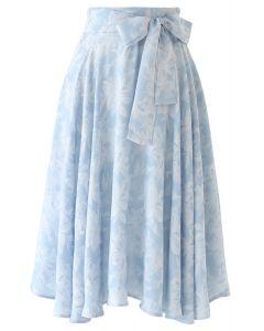 ジャガードウエストボウノット付きスカート ブルー