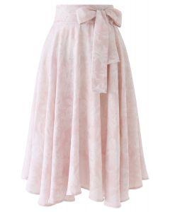 ジャガードウエストボウノット付きスカート ピンク
