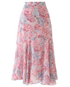 ローズ柄シフォンスカート ピンク