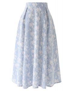 花柄ストライプメッシュスカート