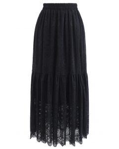花柄レーススカート ブラック
