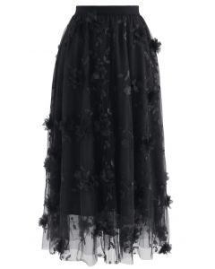3Dメッシュ刺繍チュールスカート ブラック
