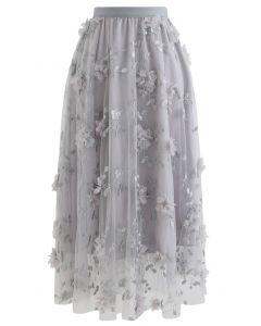 3Dメッシュ刺繍チュールスカート グレー