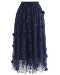 3Dメッシュ刺繍チュールスカート ネイビー