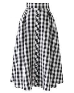 チェック柄Aラインスカート ブラック