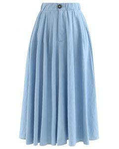 ボタンAラインスカート ブルー