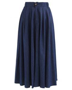 ボタンAラインスカート ネイビー