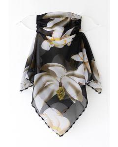 花柄シフォンマスク ブラック