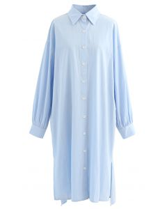 Asymmetric Split Hem Button Down Shirt Dress in Blue