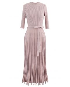 Mock Neck Fringed Hem Ribbed Knit Midi Dress in Pink