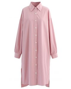 Asymmetric Split Hem Button Down Shirt Dress in Pink
