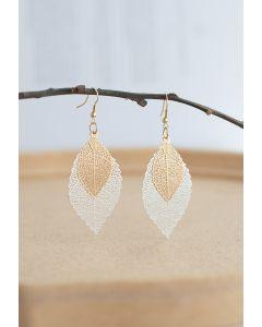 Boho Double Leaf Earrings in Silver