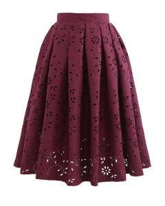 花カットワークジャカードスカート ワインレッド