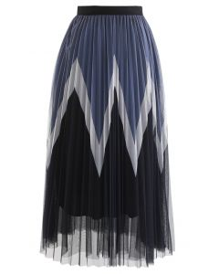 ジグザグダブルプリーツチュールスカート ブラック