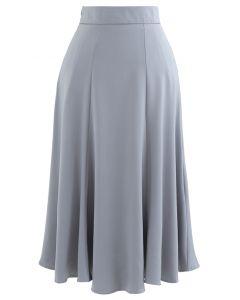 サテンAラインスカート グレー