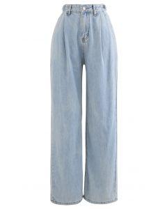 ベルト付きワイドレッグポケットジーンズ ブルー