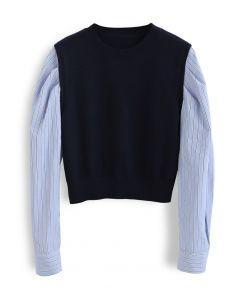 ストライプスリーブパネルセーター ネイビー