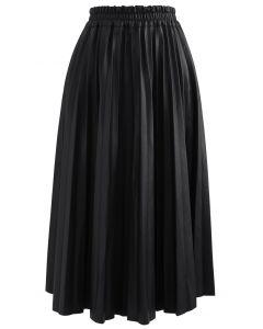 フェイクレザープリーツAラインスカート ブラック