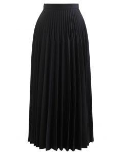 ハイウエストプリーツマキシスカート ブラック