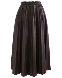 フェイクレザープリーツAラインスカート ブラウン