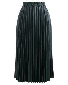 フェイクレザープリーツAラインスカート グリーン
