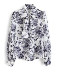 花柄水彩ネックボウノットシャツ
