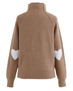 ハートパッチ オフネック ハイゲージニット セーター  キャラメル