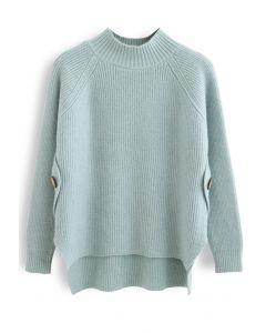サイドボタン付きセーター ミント