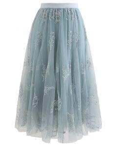 シークイン付き花柄刺繍メッシュスカート ターコイズグリーン
